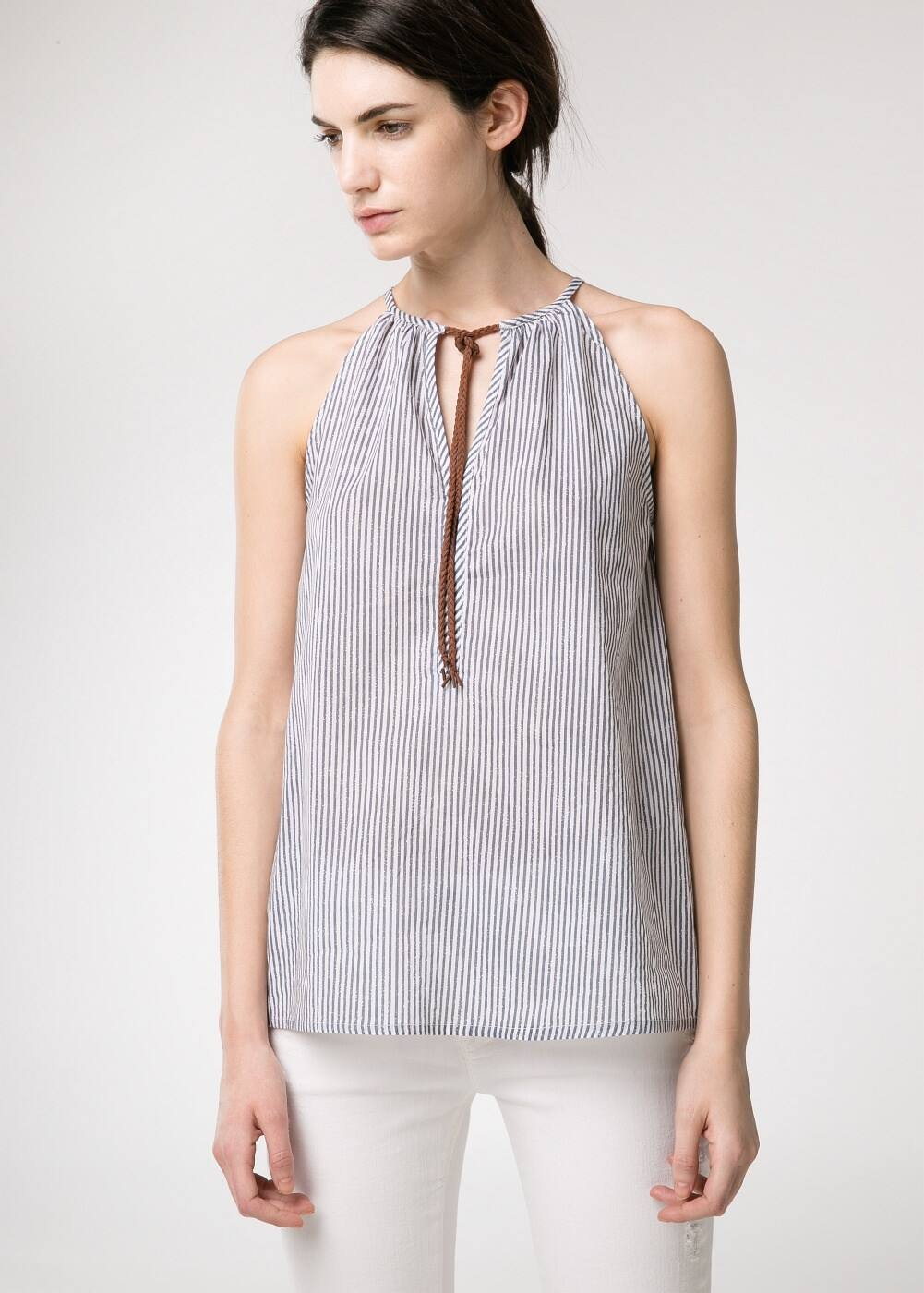 Striped halter neck top | MANGO