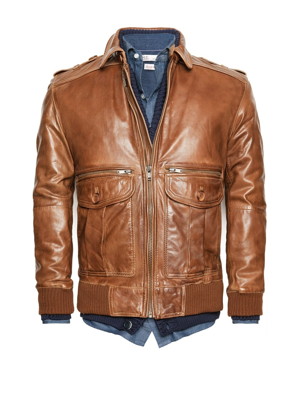 Leather aviator jacket | MANGO