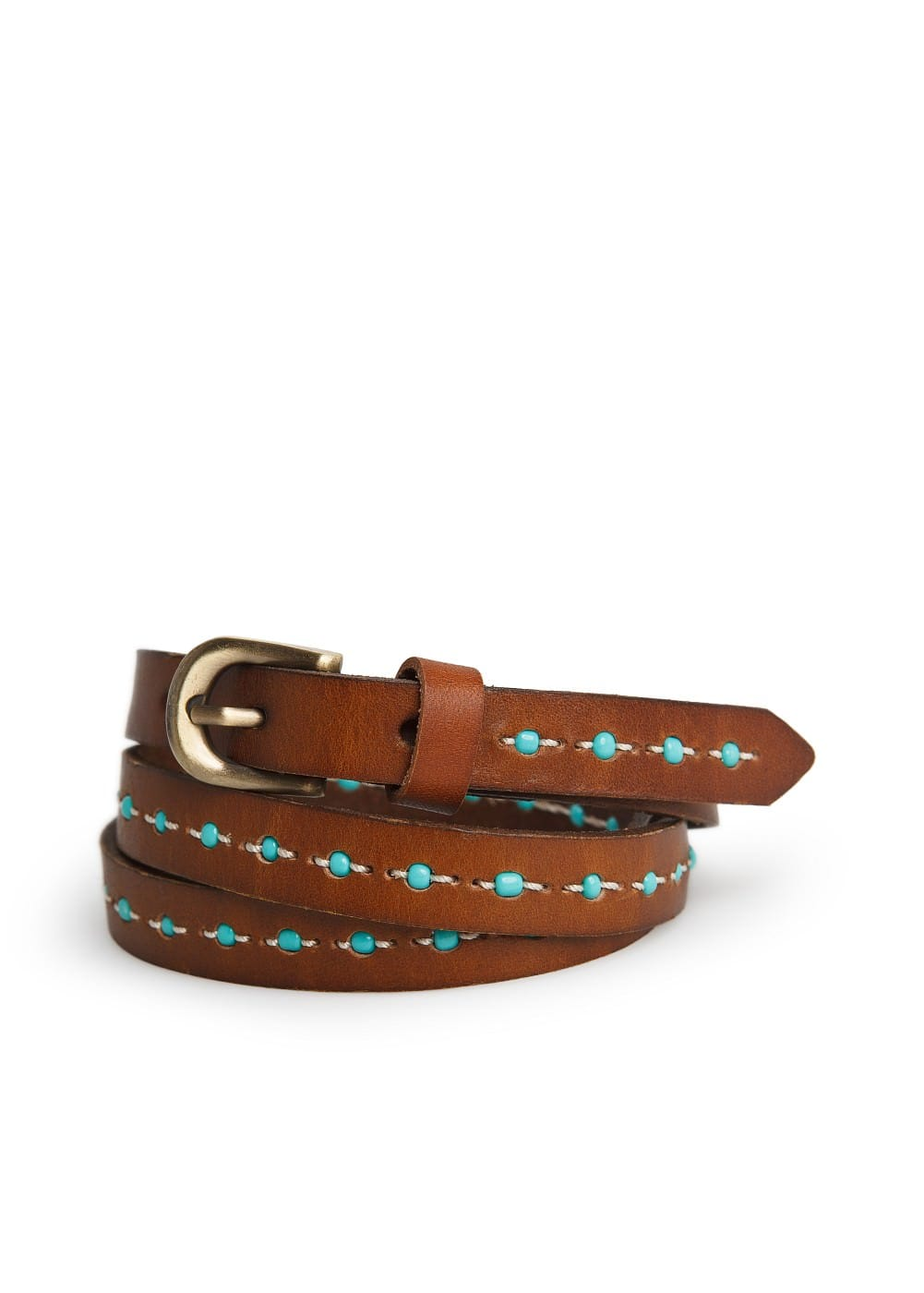 Beaded skinny belt | MANGO