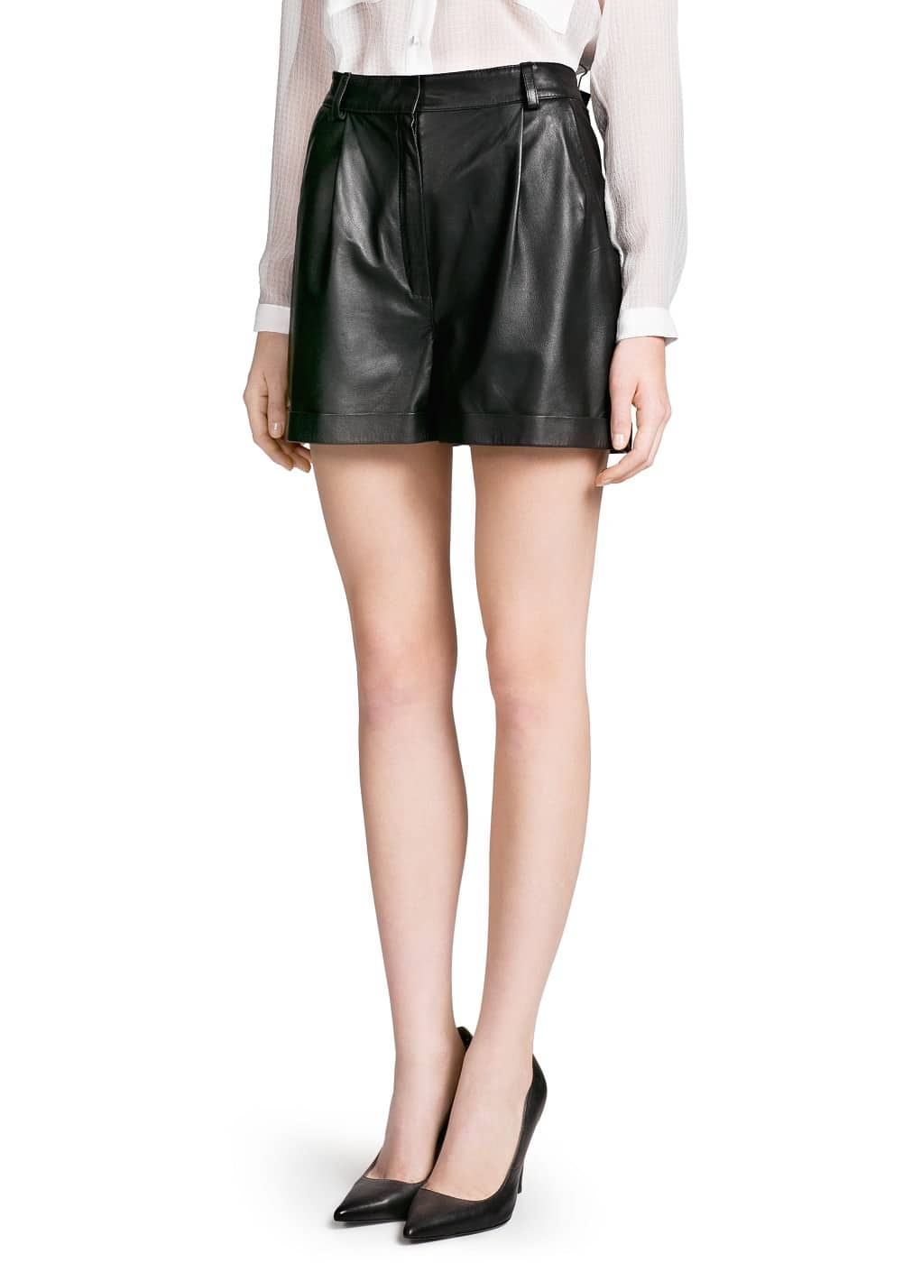 High-waist leather shorts | MNG