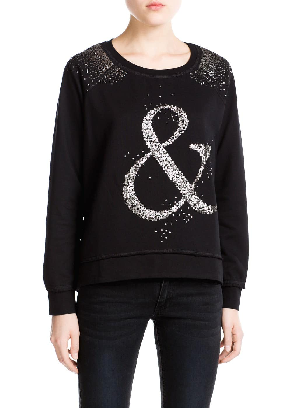Sequin cotton sweatshirt | MANGO