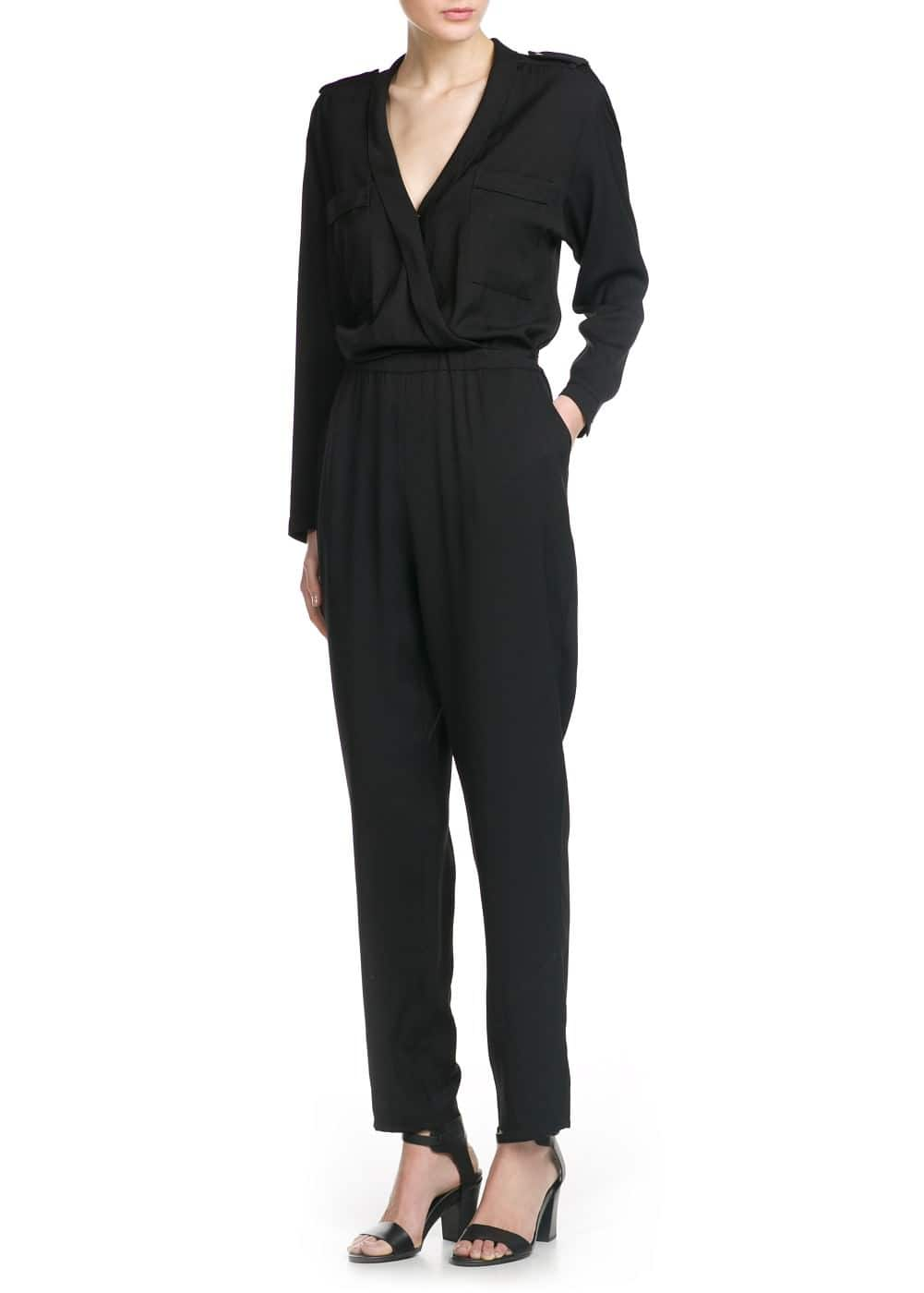 V-neck long jumpsuit | MANGO