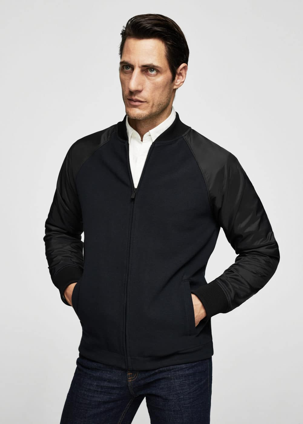Combined cotton bomber jacket | MANGO MAN