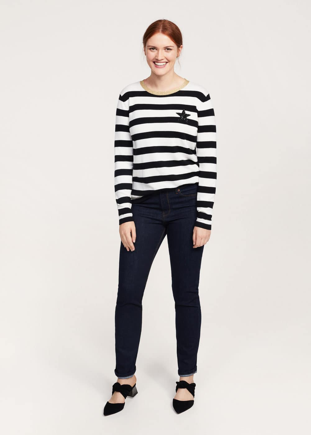 Striped appliqué sweater | VIOLETA BY MANGO