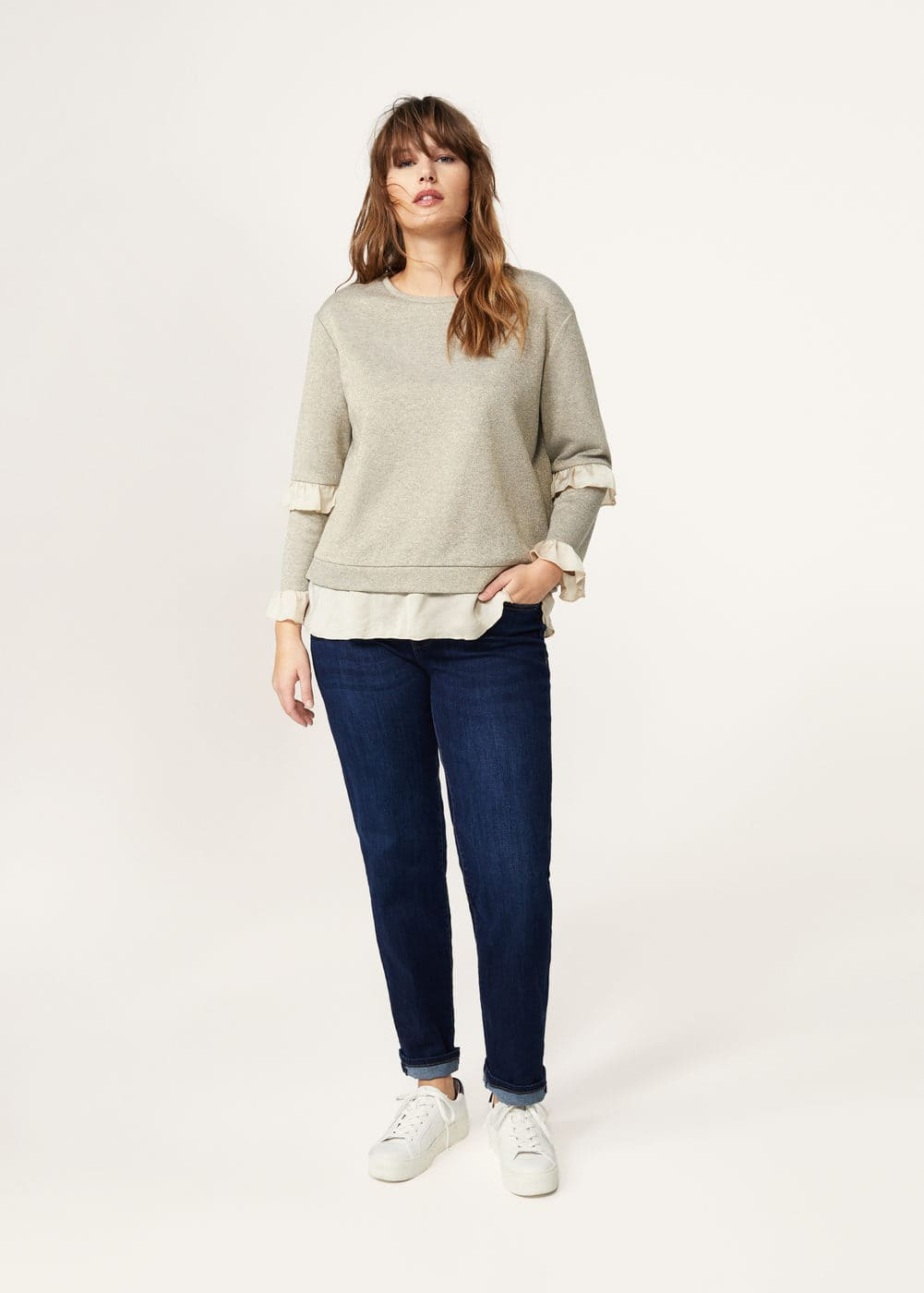 Combined lurex sweatshirt  | VIOLETA BY MANGO