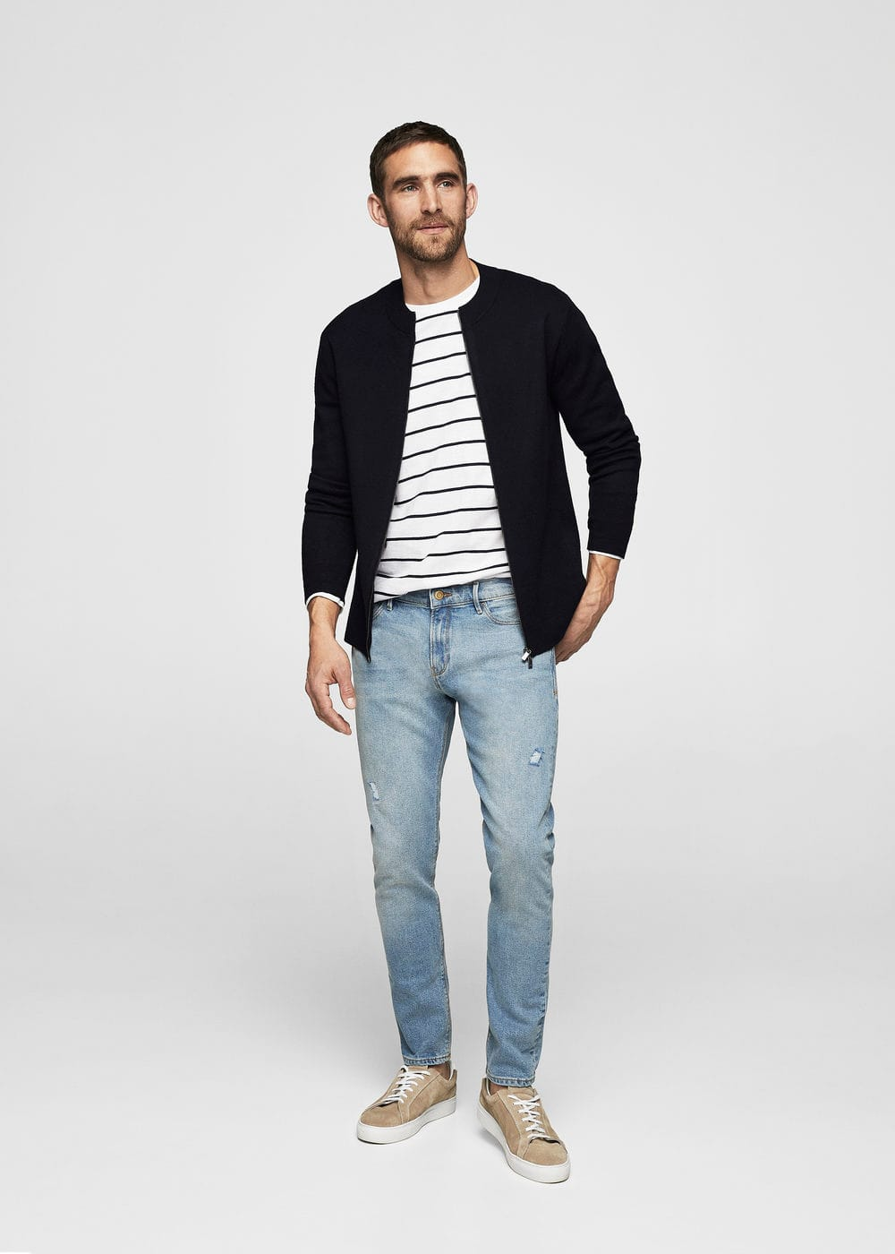 Skinny light vintage wash jude jeans | MANGO MAN