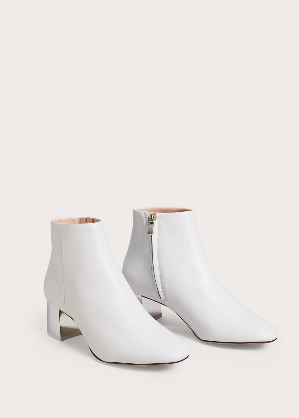 Metallic heel leather ankle boots | VIOLETA BY MANGO