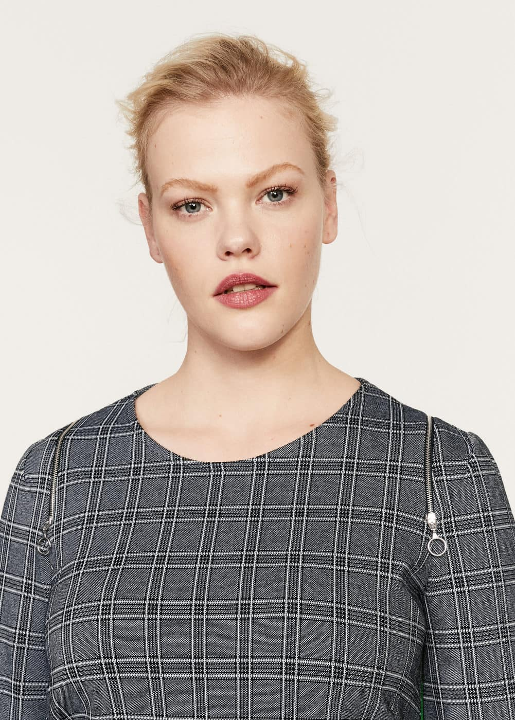 Contrasting trims checked dress | VIOLETA BY MANGO