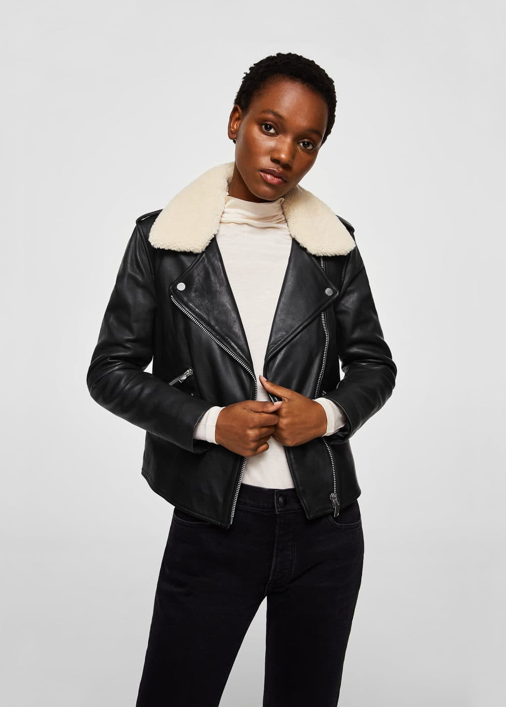 Sheepskin leather jacket | MANGO