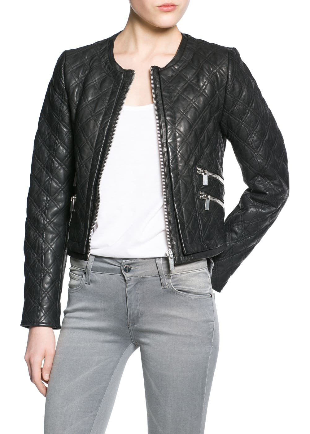 Quilted leather jacket | MANGO