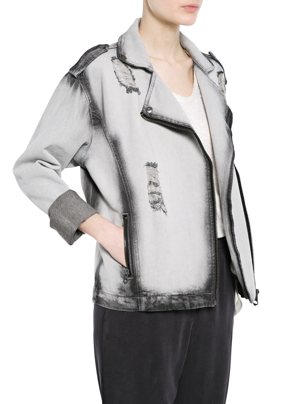 Grey biker jacket | MANGO
