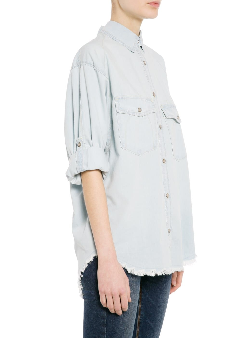 Frayed denim shirt | MANGO