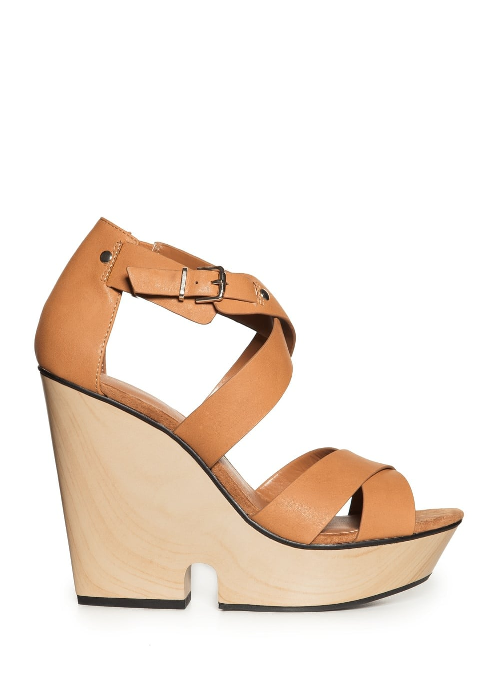 Crisscross wedge sandals | MANGO