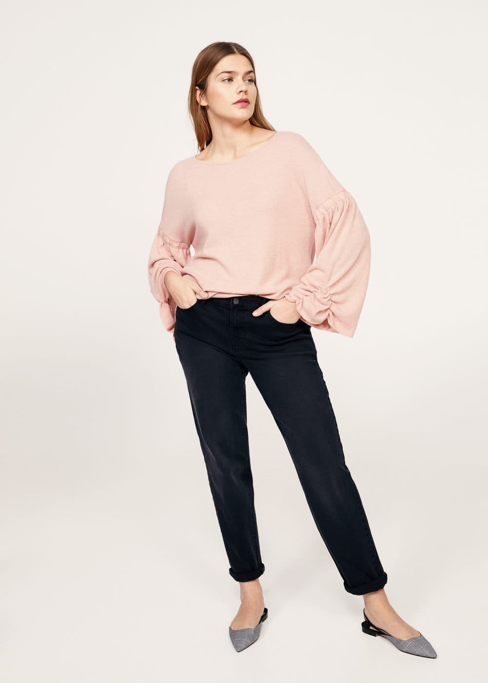 Ruched sleeve sweatshirt | VIOLETA BY MANGO