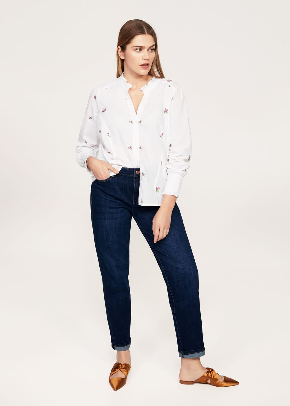 Embroidered flowers shirt | VIOLETA BY MANGO