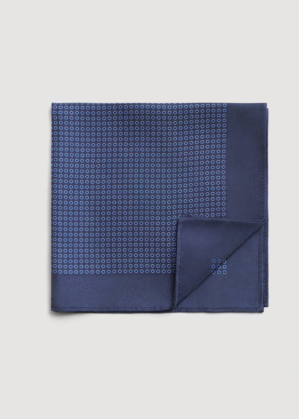 Polka-dot silk pocket square | MANGO MAN