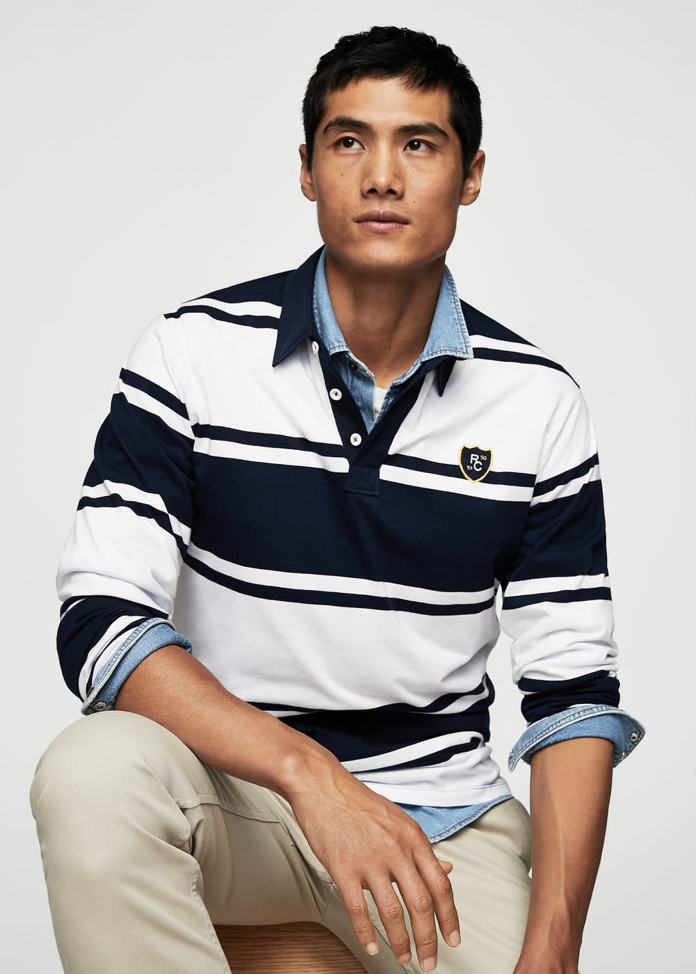 Striped cotton polo shirt | MANGO MAN