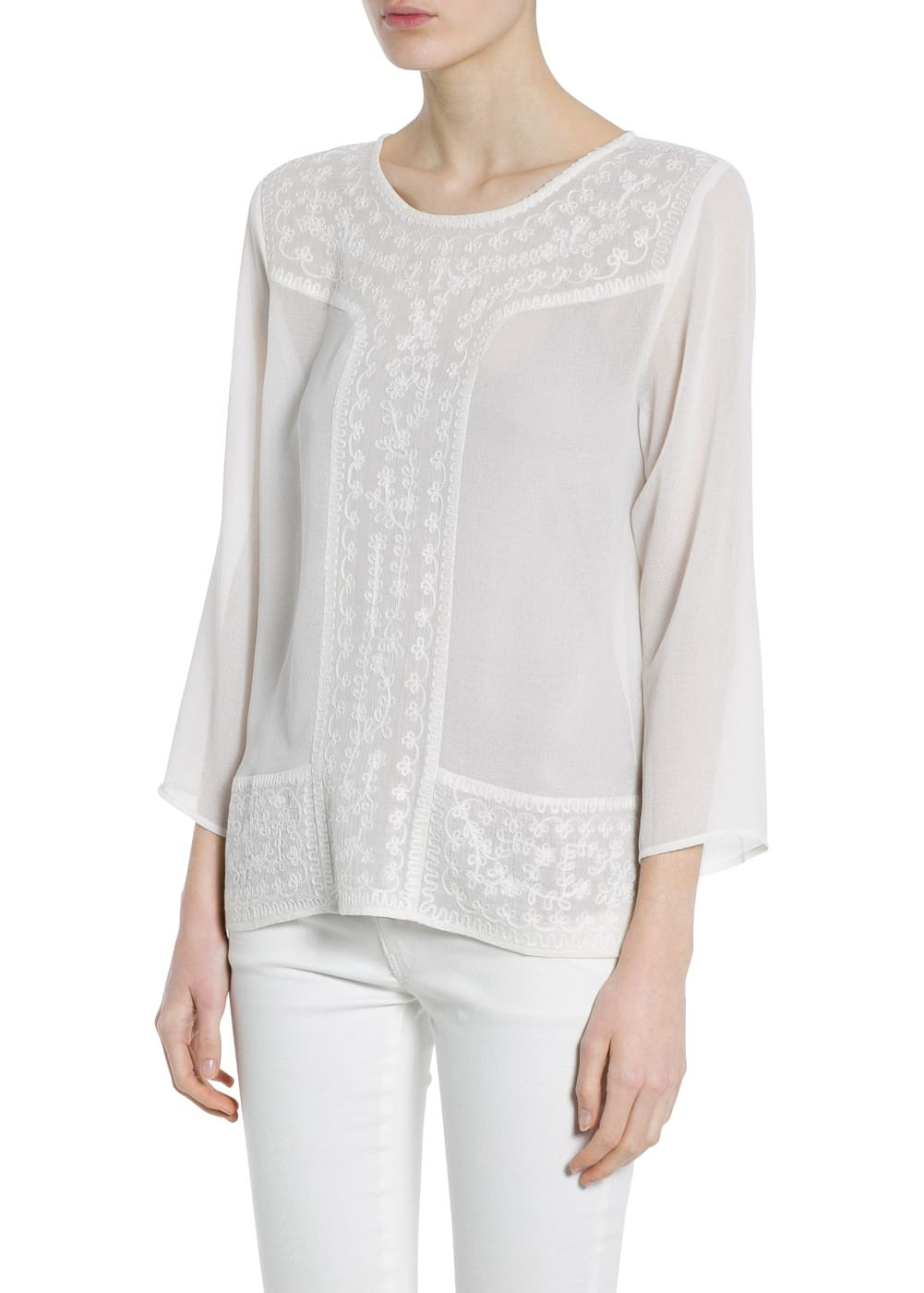 Embroidered detail blouse | MANGO