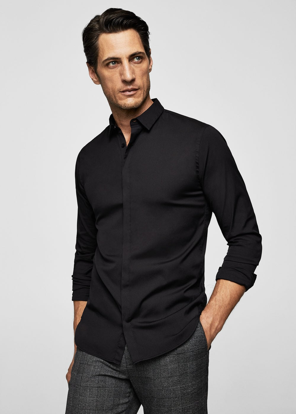 Camicia slim-fit cotone stretch | MANGO MAN