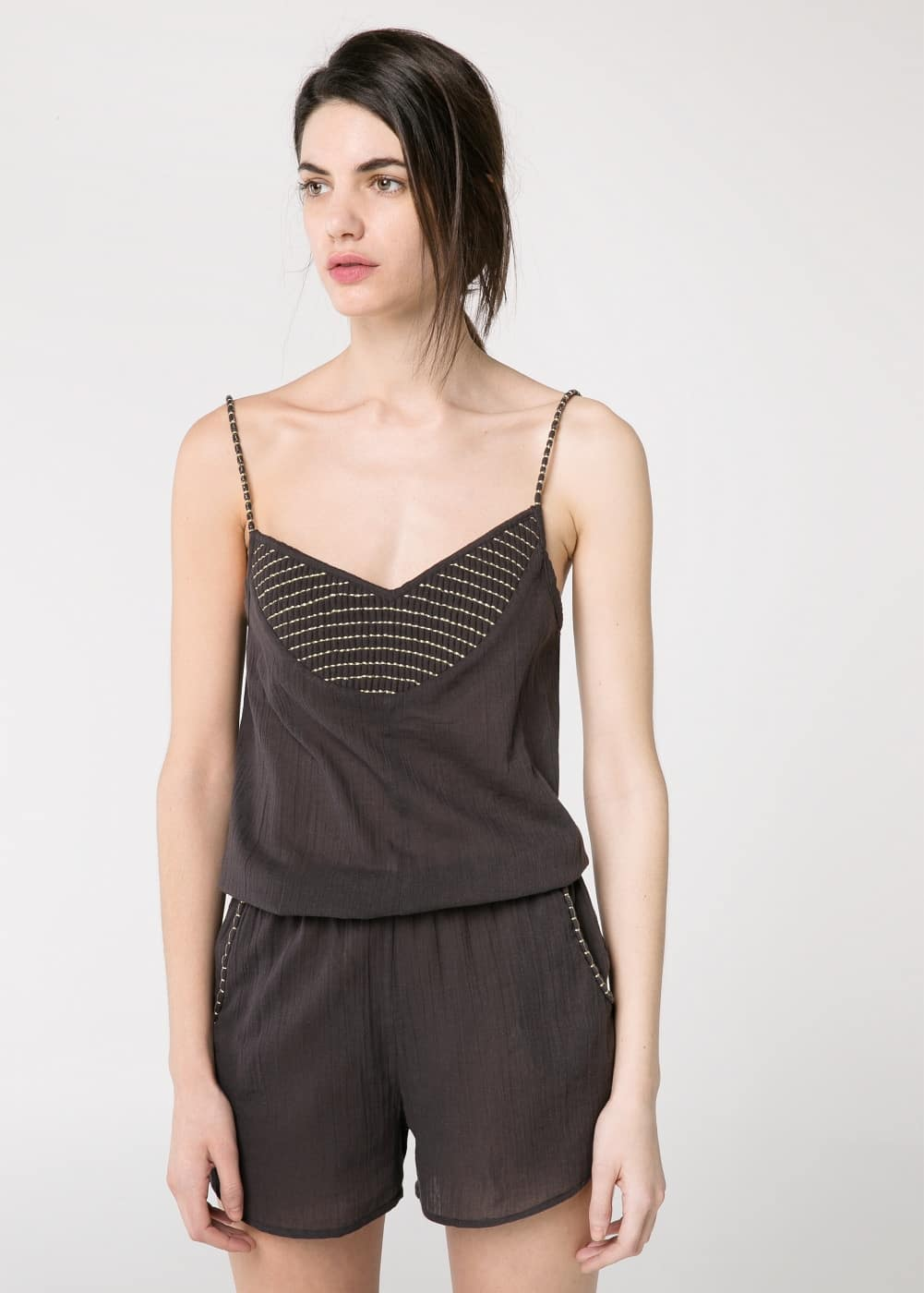 Embroidered detail jumpsuit | MANGO