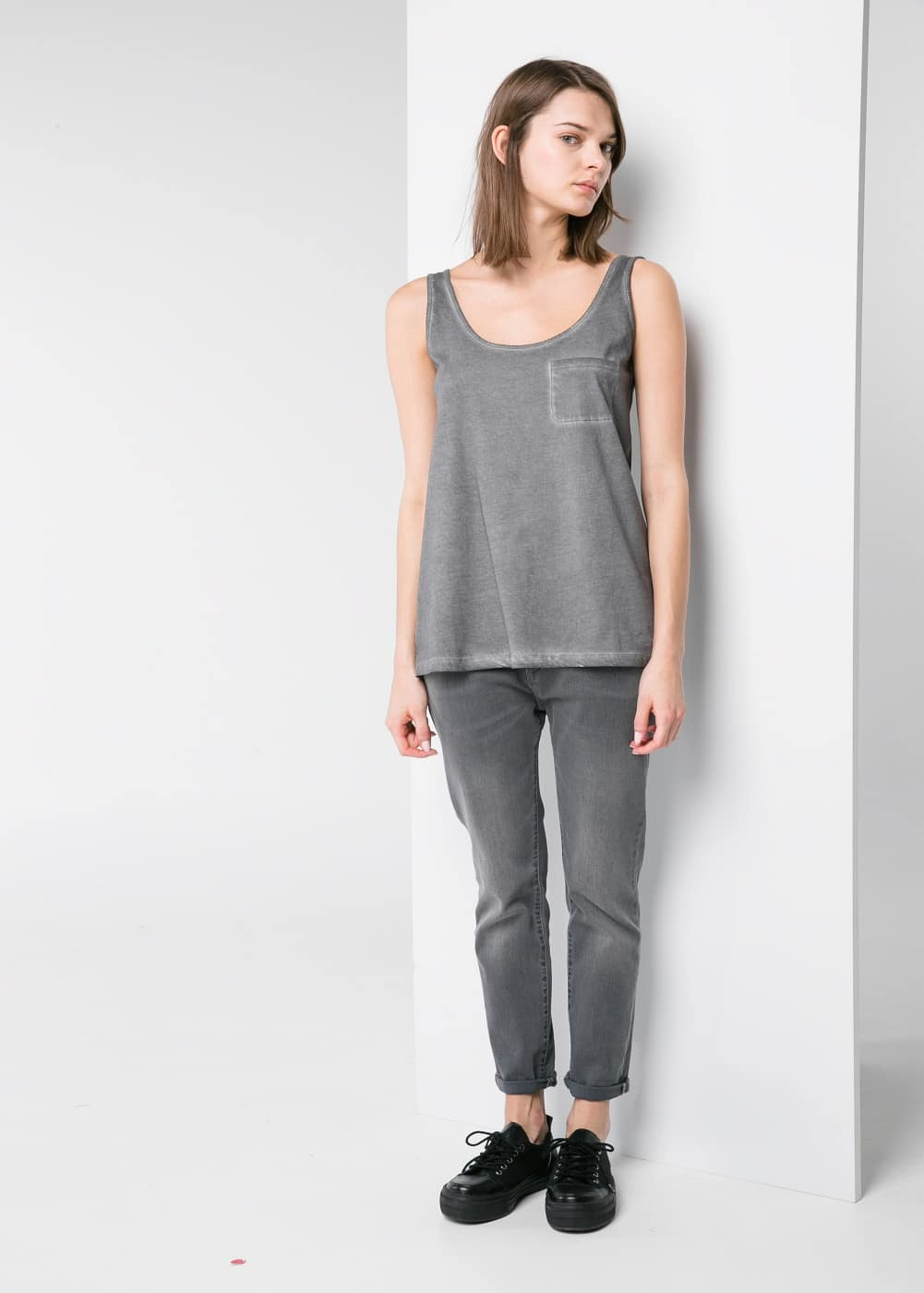 Washed cotton top | MANGO