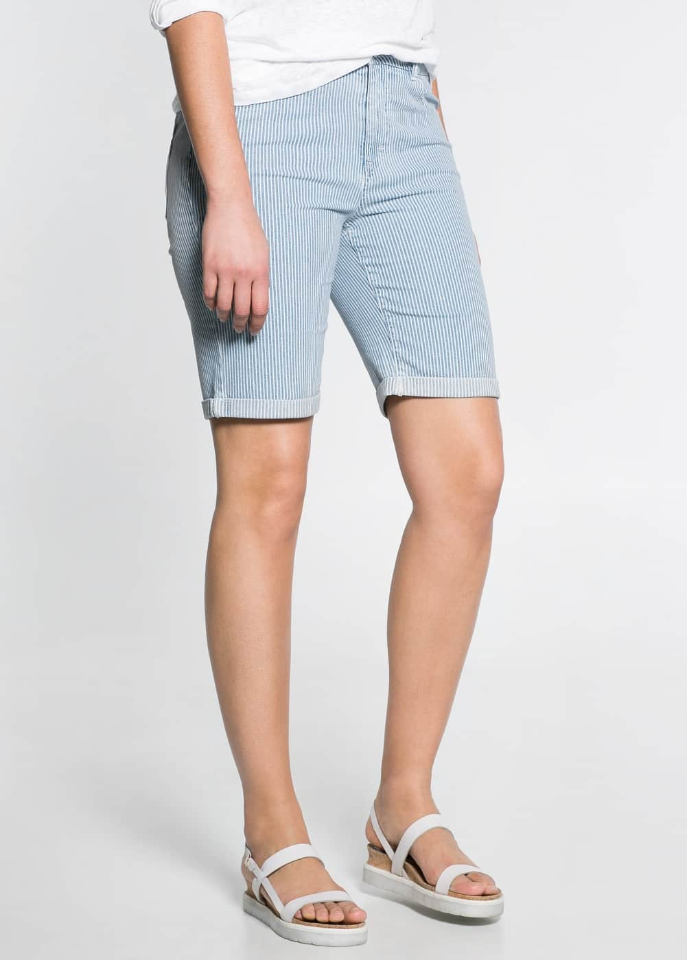 Striped denim bermuda shorts | MANGO