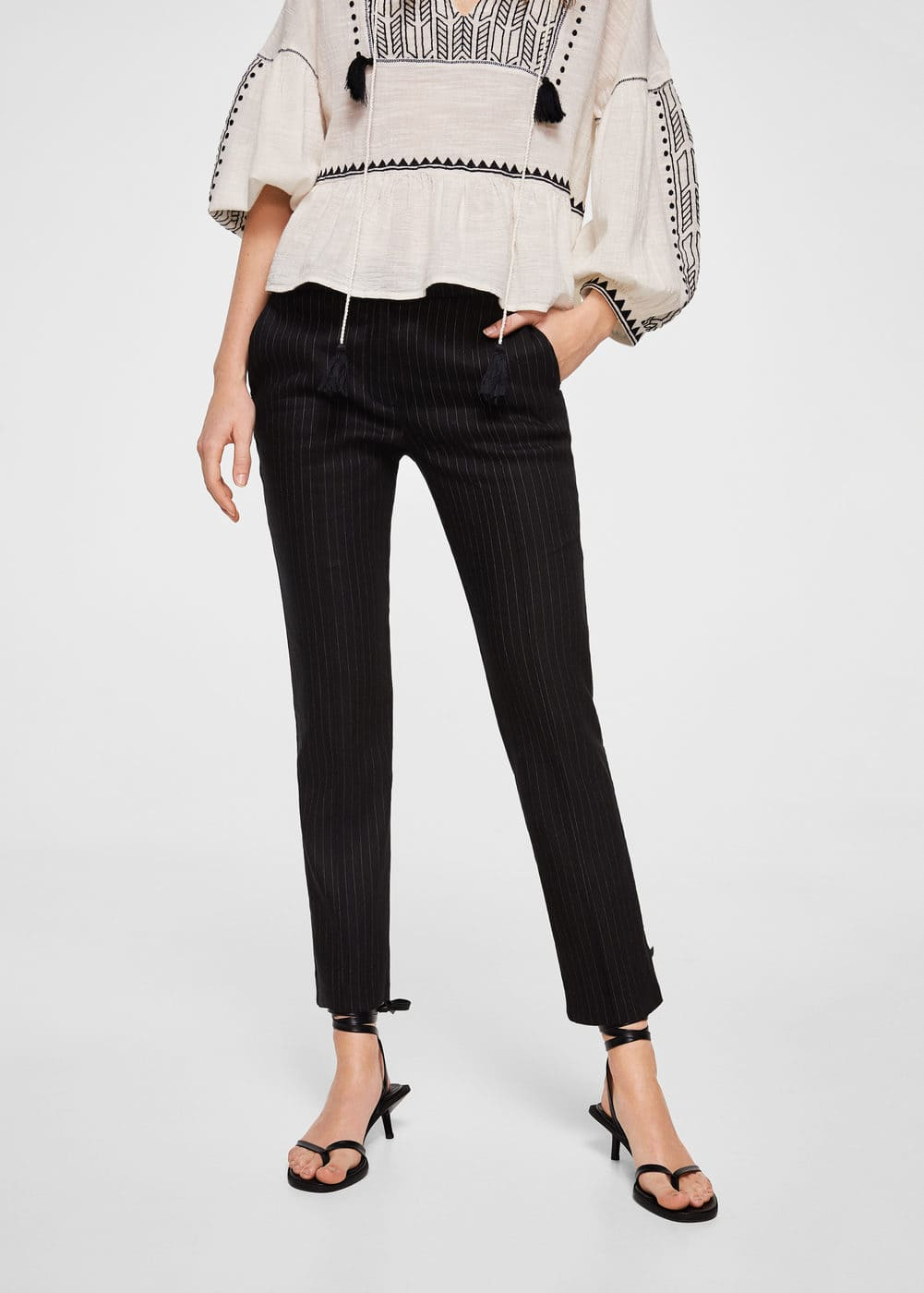Striped linen-blend trousers | MANGO