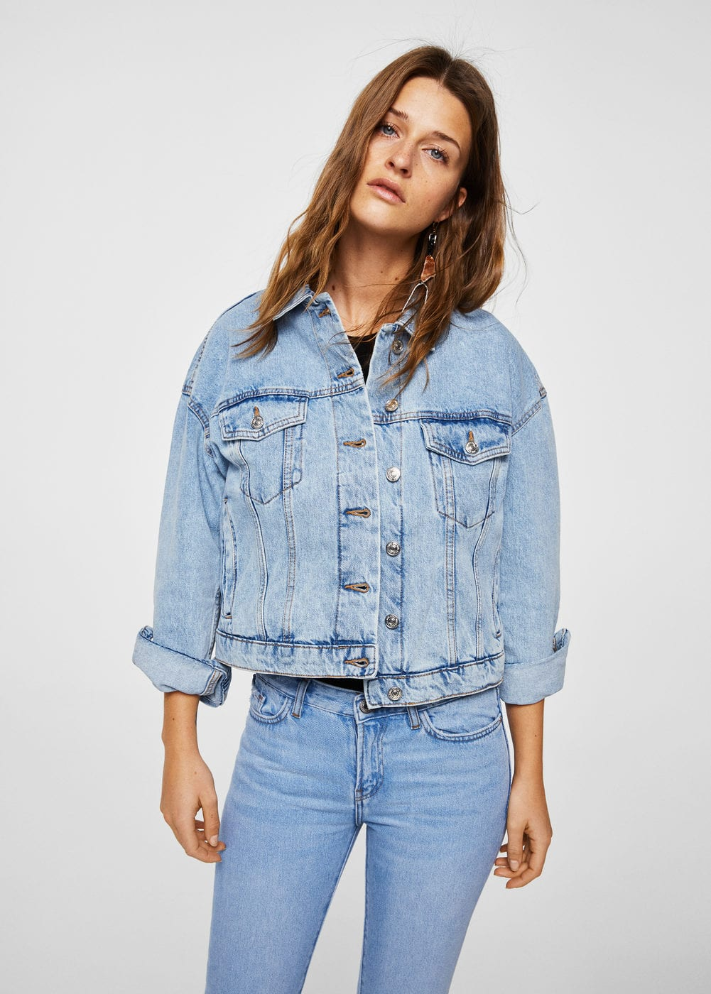 Mango Blouson crop denim