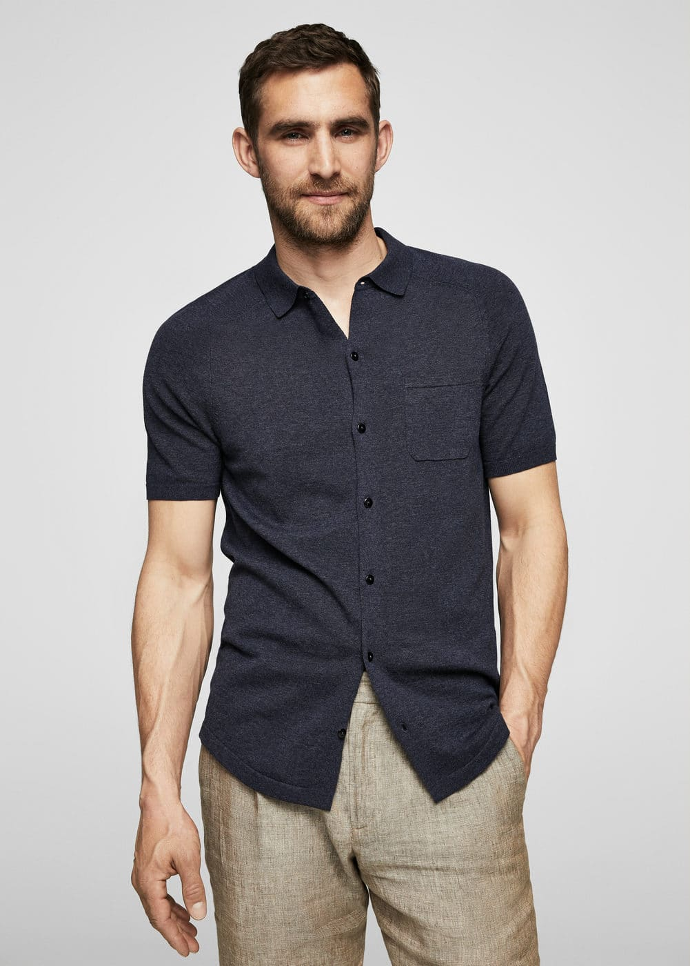 Slub-cotton shirt | MANGO MAN