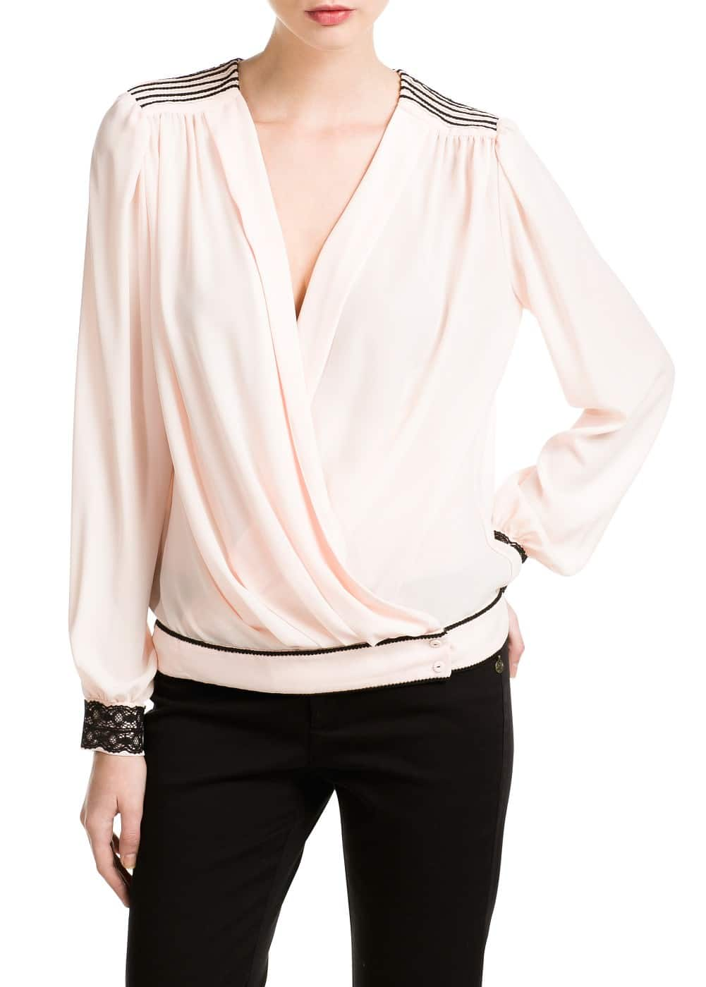 Trim wrap blouse | MANGO