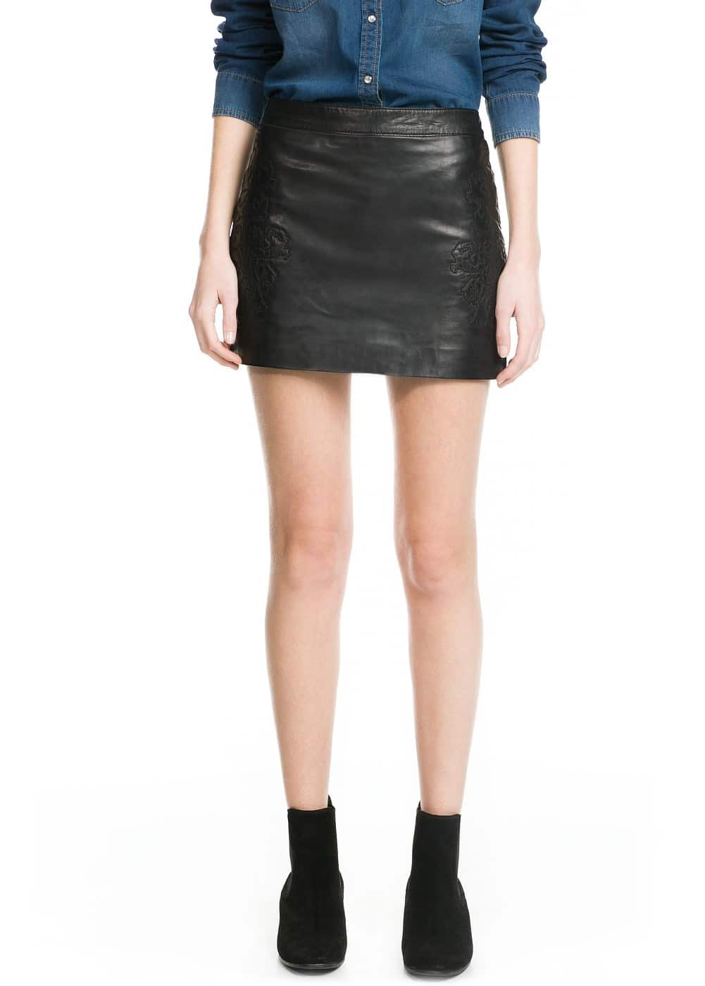 Embroidered leather skirt | MANGO