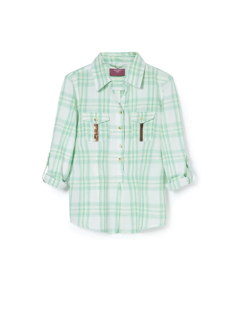 Sequined check shirt | MANGO