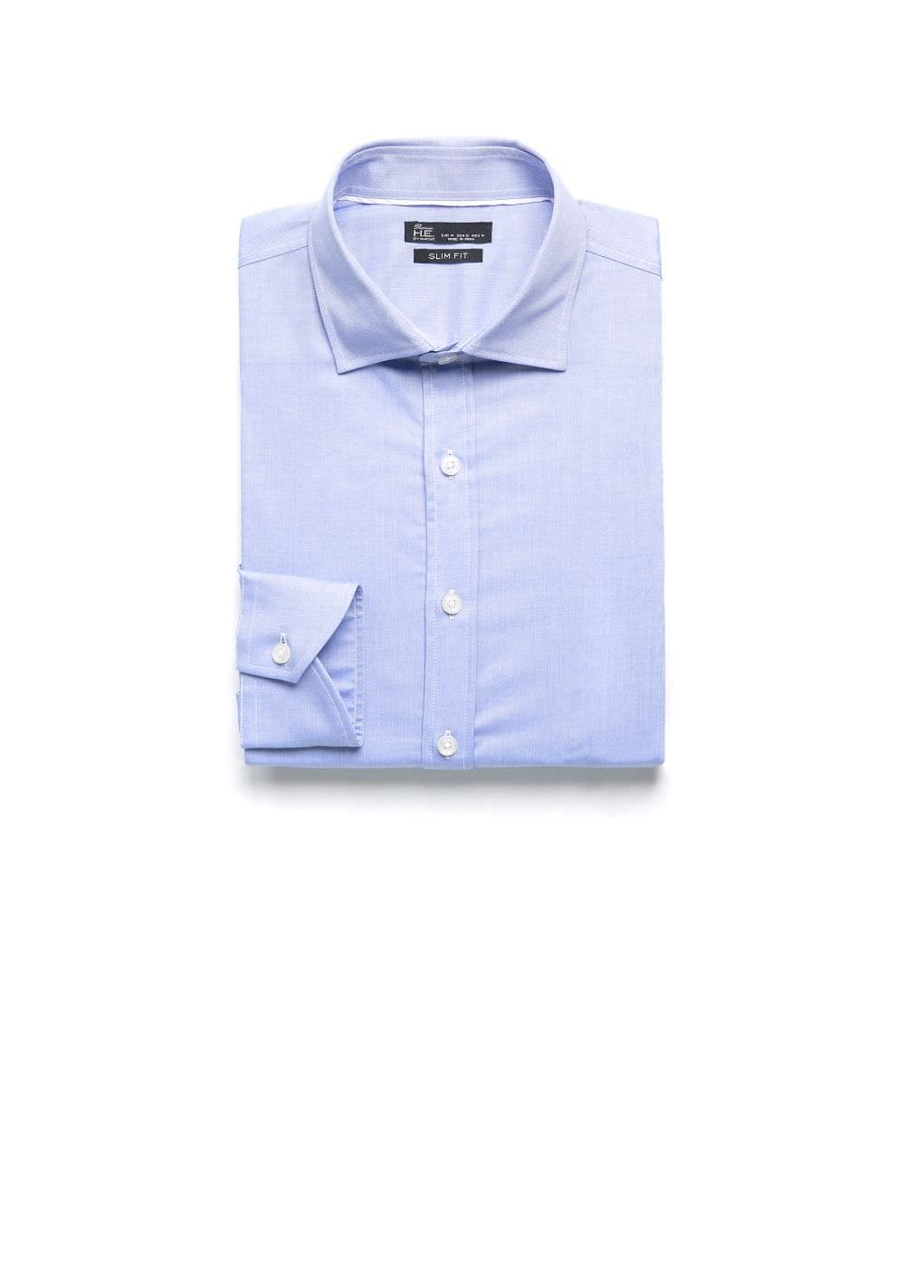 Slim-fit premium herringbone shirt | MANGO MAN
