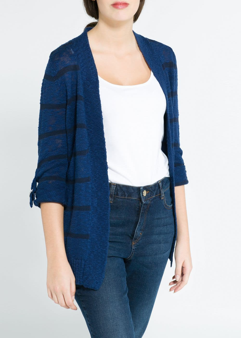 Striped slub cardigan | MANGO