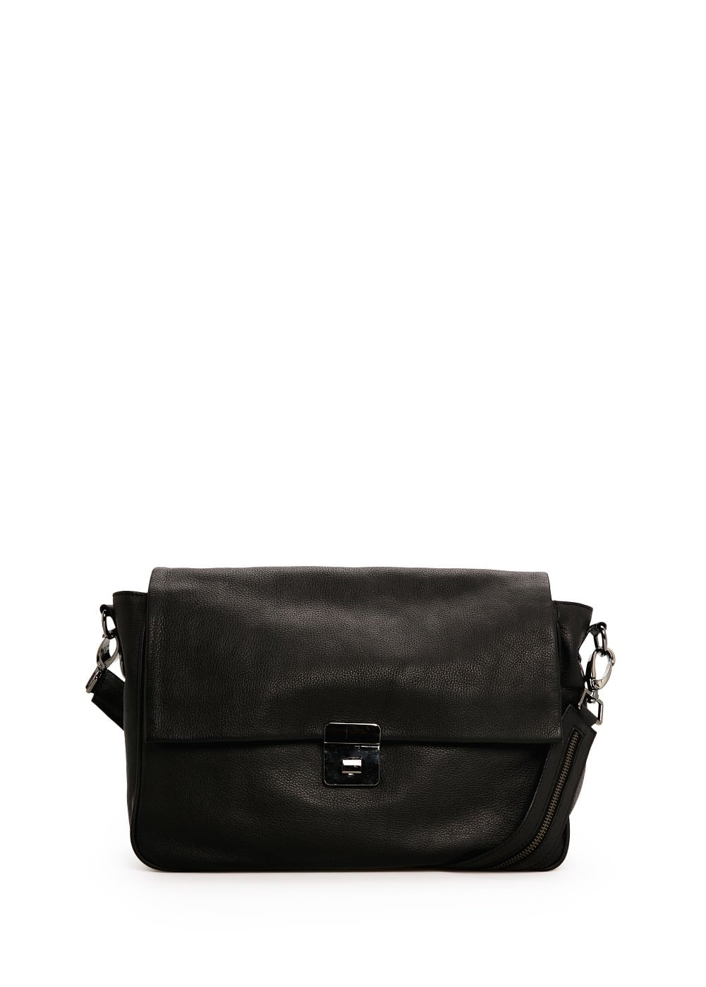 Leather messenger bag | MANGO