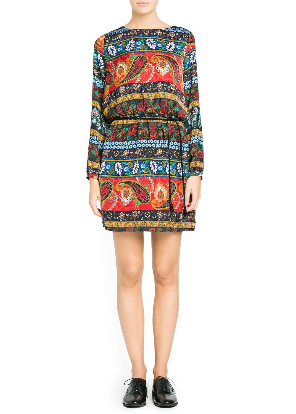 Paisley print satin dress | MANGO