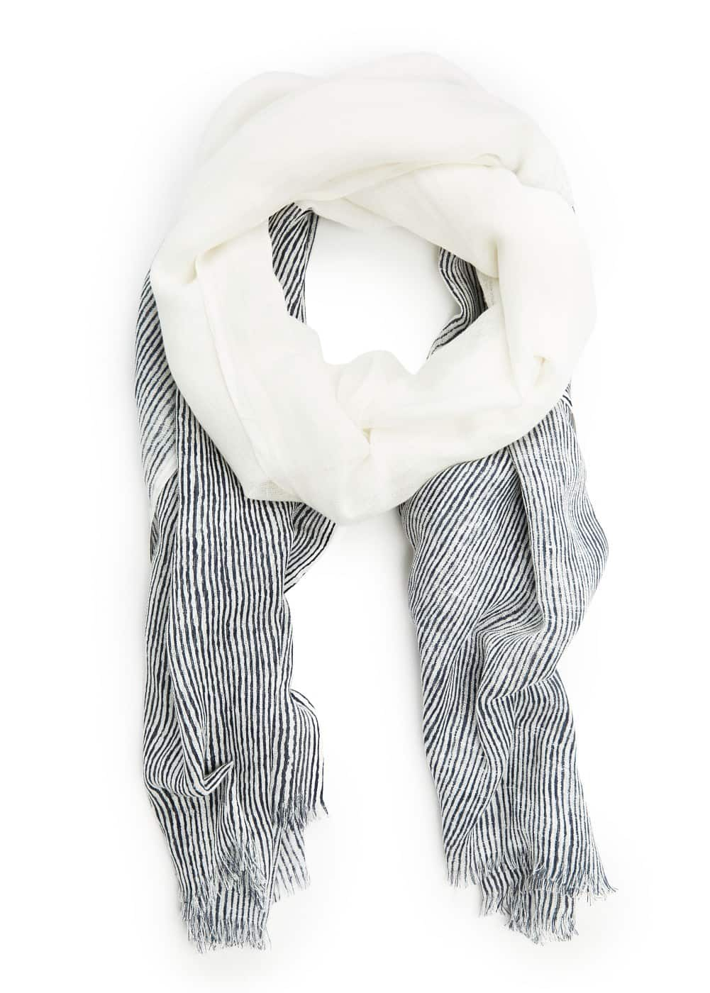 Striped linen scarf | MANGO