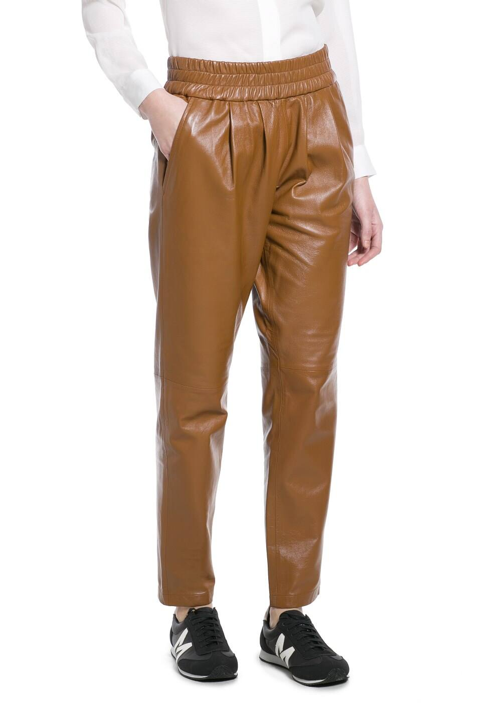 Leather baggy trousers | MANGO