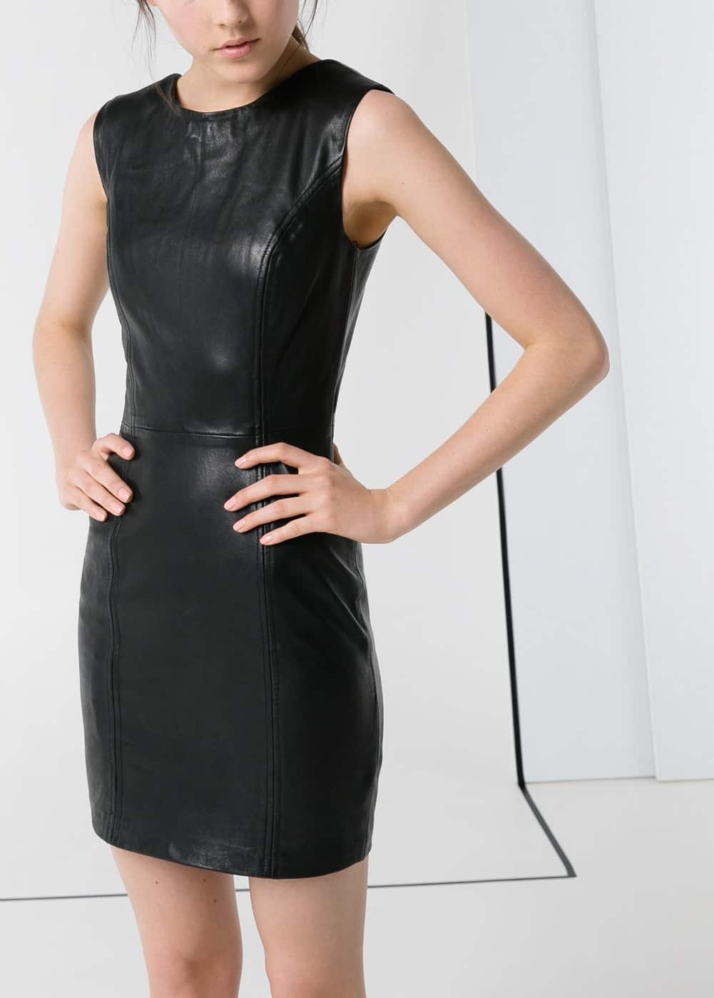 Padded-shoulder leather dress | MANGO