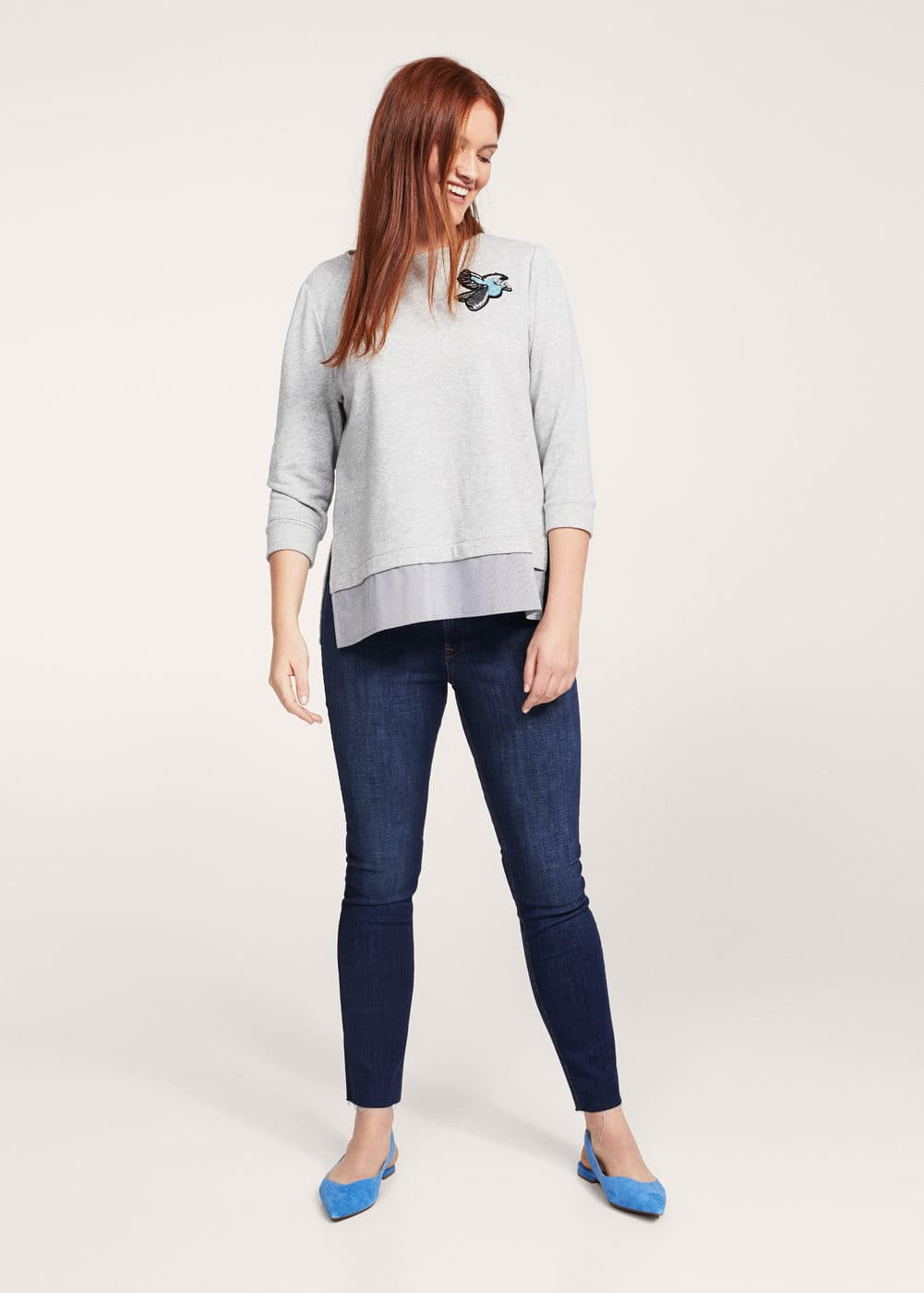 Appliqué shirt hem sweatshirt | VIOLETA BY MANGO