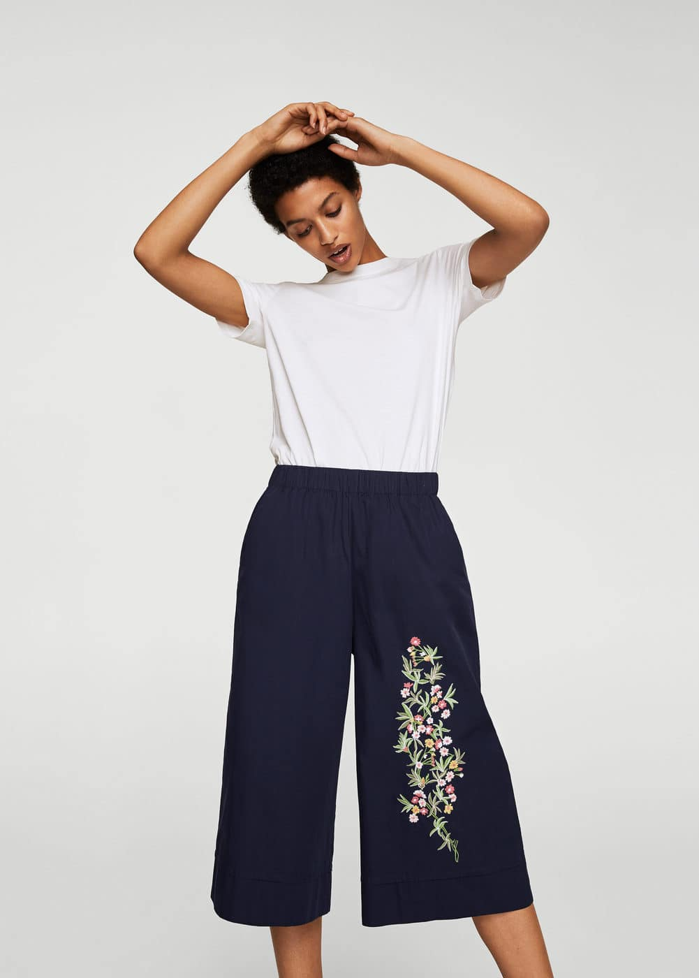 Embroidered cotton trousers | MANGO
