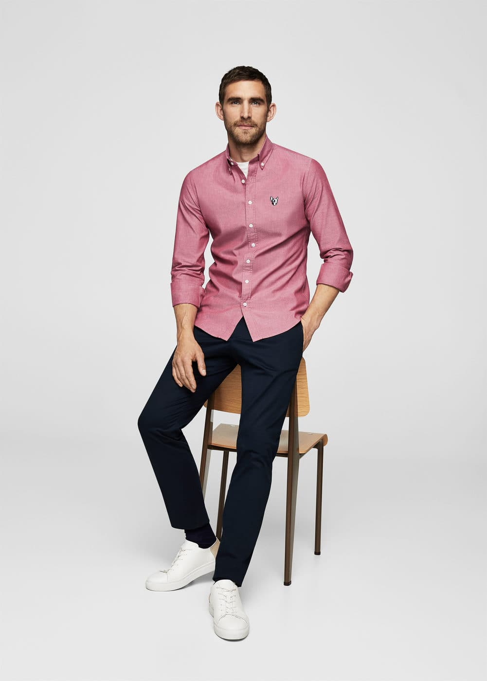 Slim-fit stretch cotton oxford shirt | MANGO MAN