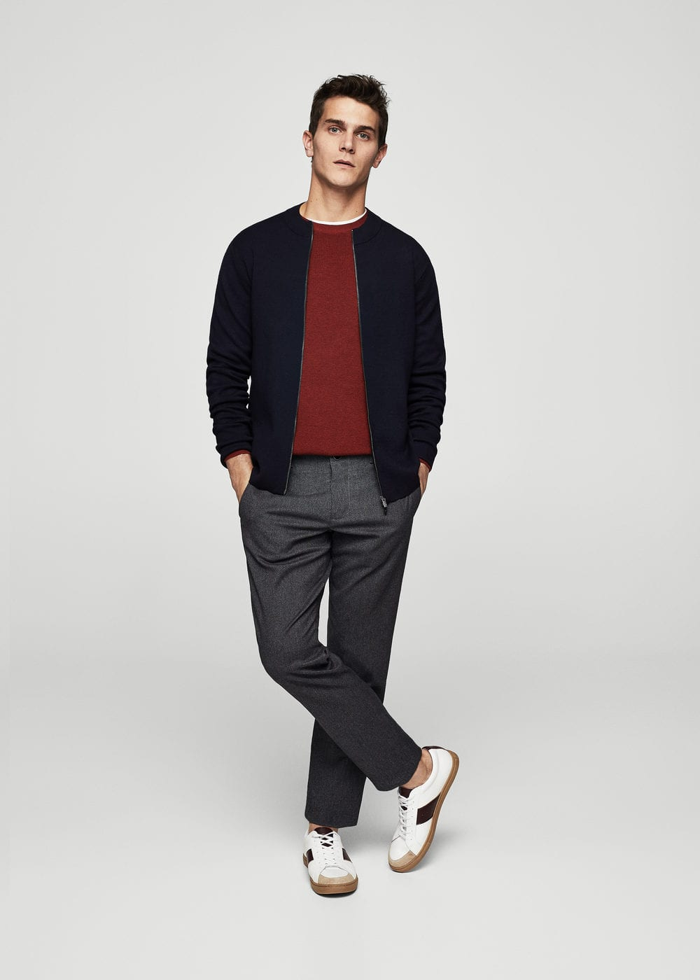 Textured knit cardigan | MANGO MAN