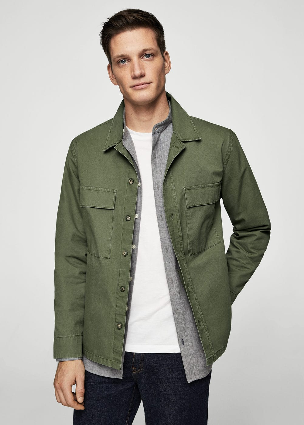 Pocketed cotton jacket | MANGO MAN
