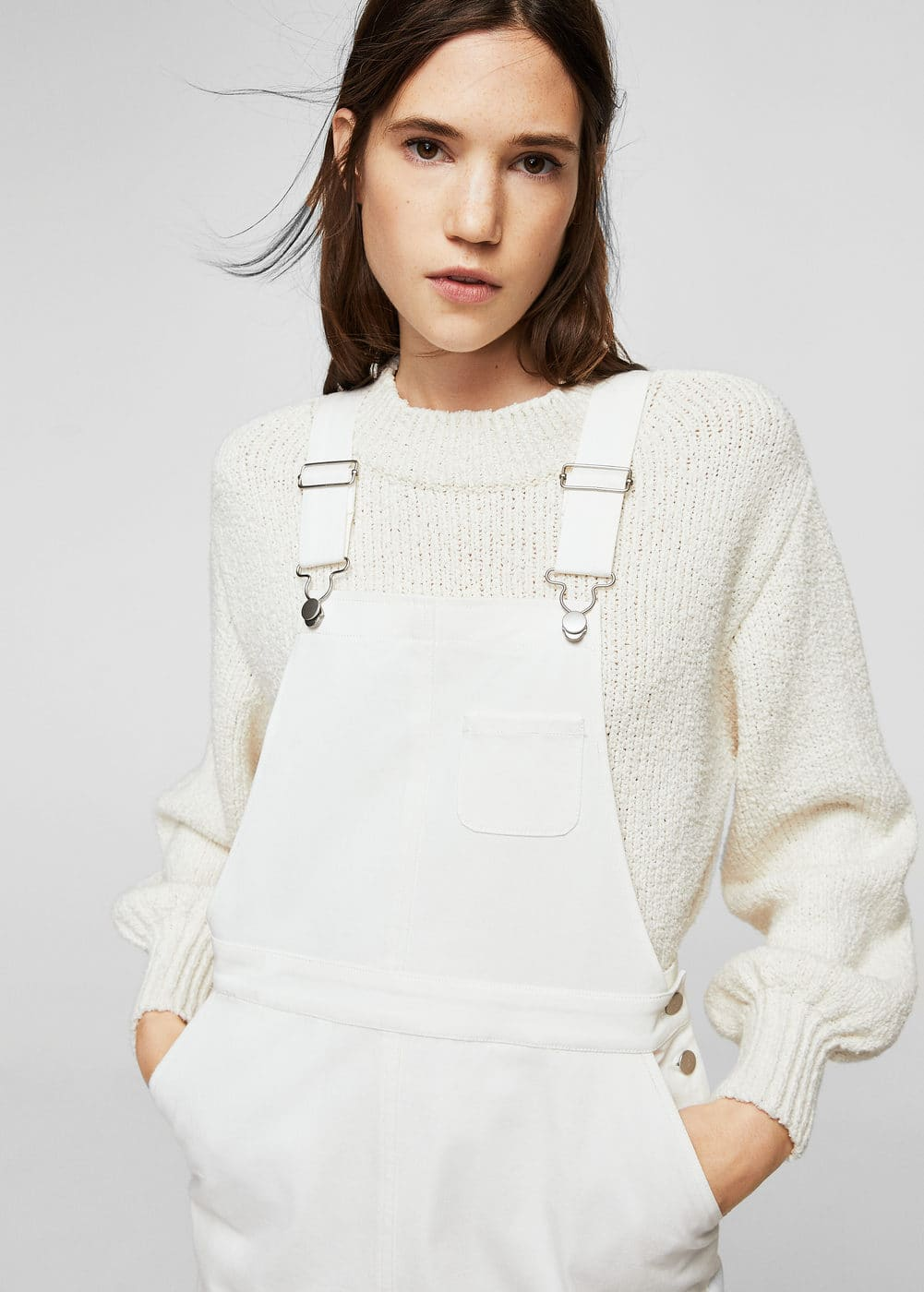 White denim pinafore dress | MANGO
