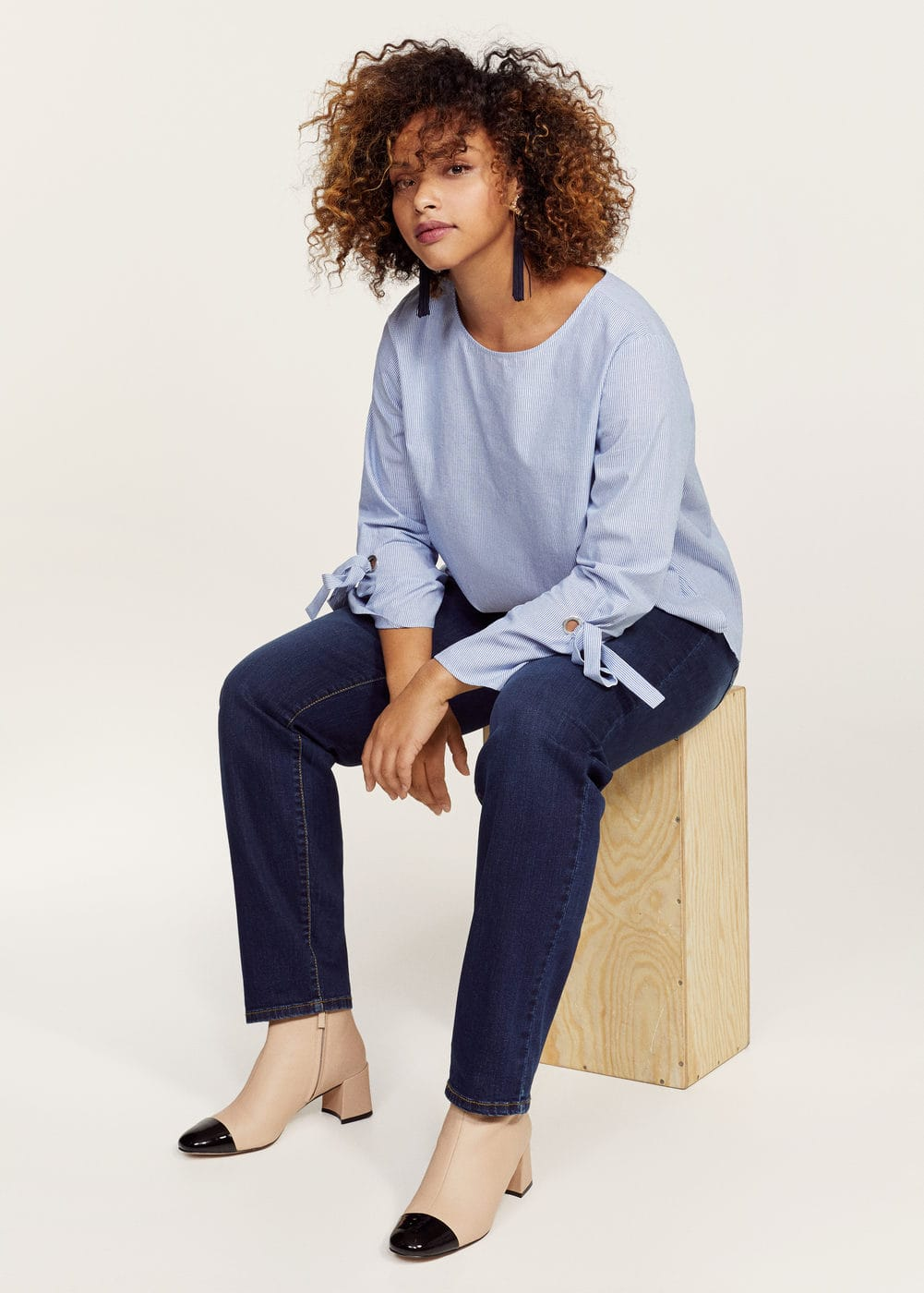 Bows fine-striped blouse | VIOLETA BY MANGO