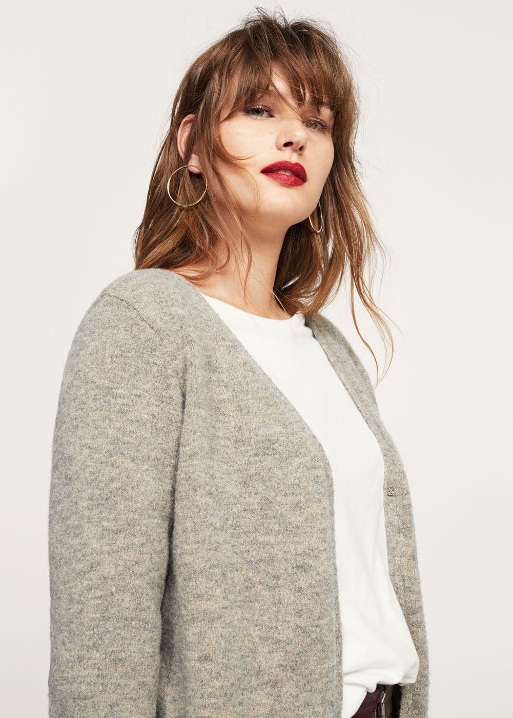 Flecked wool-blend cardigan | VIOLETA BY MANGO