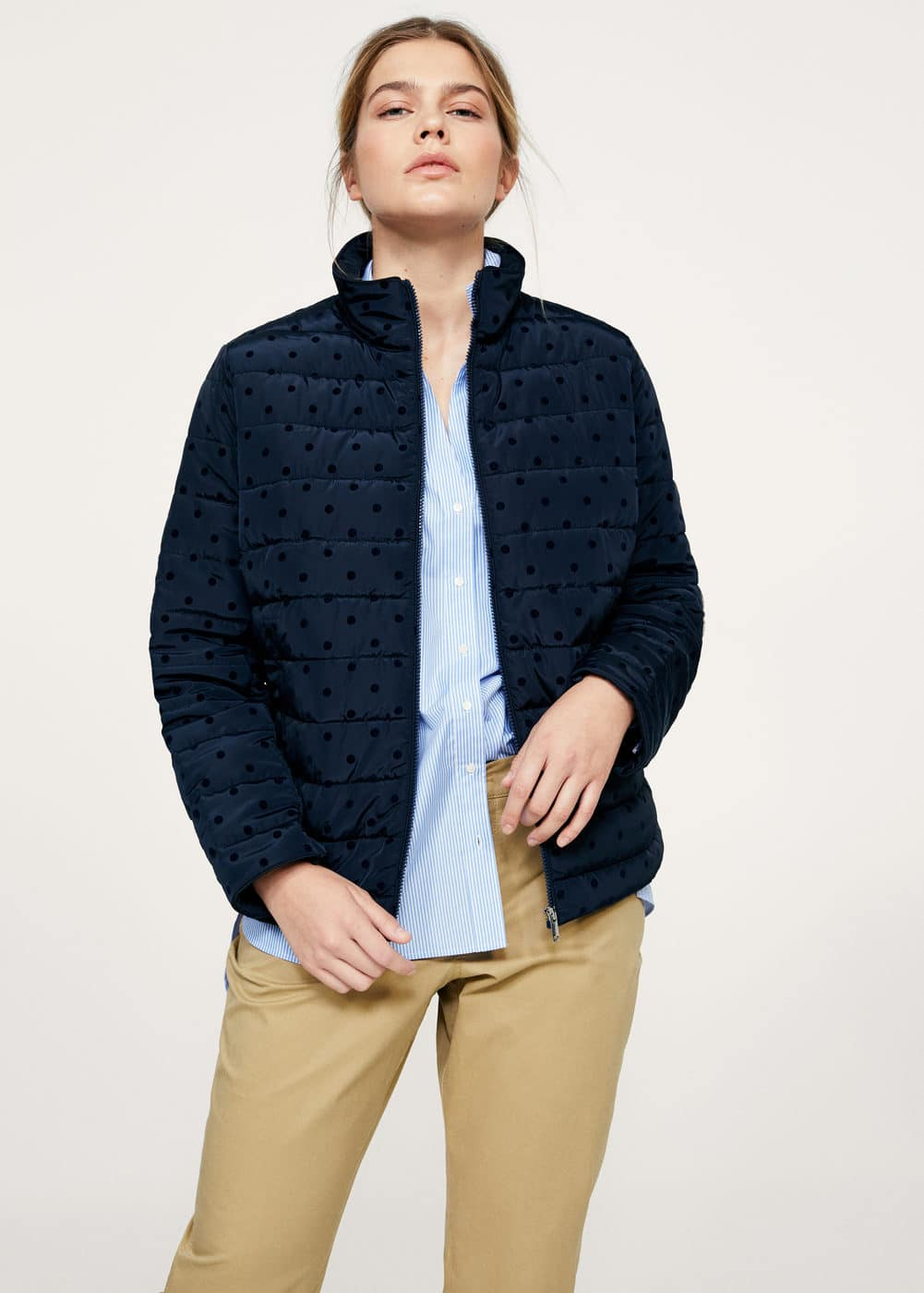 Polka dot quilted anorak | VIOLETA BY MANGO