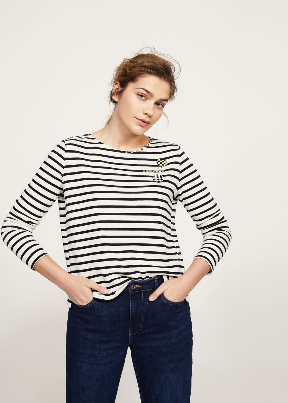 Appliqués striped sweatshirt | VIOLETA BY MANGO