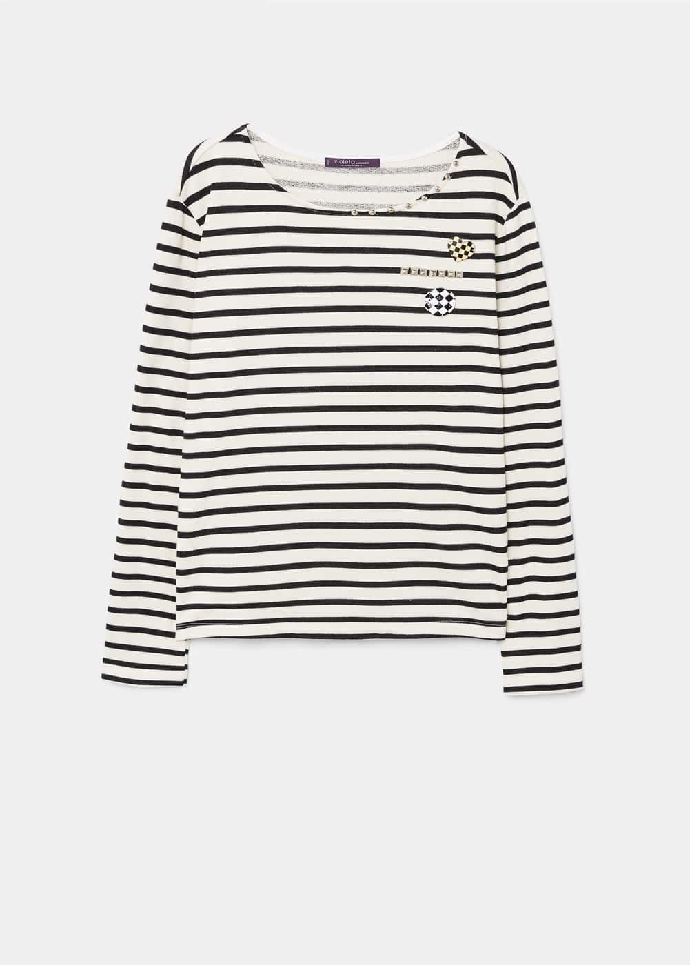 Appliqués striped sweatshirt | MANGO